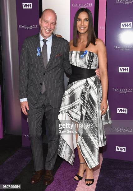 Honoree Anthony Romero and Padma Lakshmi attend the 2018 VH 1 Trailblazer Honors at Cathedral of St John the Divine on June 21 2018 in New York City