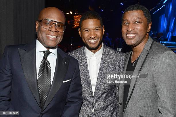 "Honoree Antonio ""LA"" Reid, singer Usher and producer Babyface attend the 55th Annual GRAMMY Awards Pre-GRAMMY Gala and Salute to Industry Icons..."