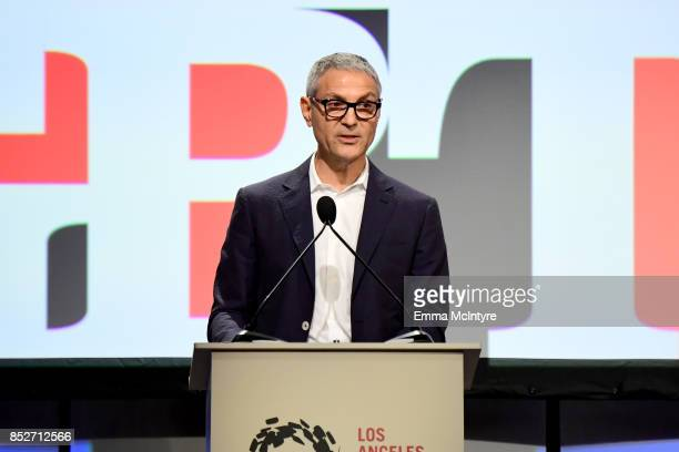 Honoree Ariel Emanuel speaks onstage during Los Angeles LGBT Center's 48th Anniversary Gala Vanguard Awards at The Beverly Hilton Hotel on September...