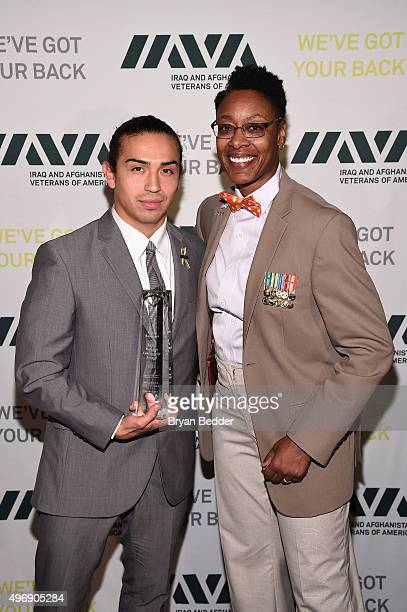 Honoree army veteran Daniel Rodriguez and army veteran Tracey CooperHarris attend the 9th Annual IAVA Heroes Gala at the Cipriani 42nd Street on...