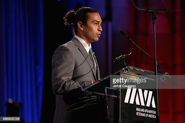 Honoree army veteran Daniel Rodriguez speaks on stage at the 9th Annual IAVA Heroes Gala at the Cipriani 42nd Street on November 12 2015 in New York...