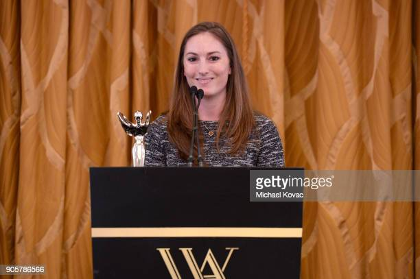 Honoree Ashley Crowder accepts the Distinguished Leadership Award onstage at the Advanced Imaging Society 2018 Lumiere Technology Awards Featuring...