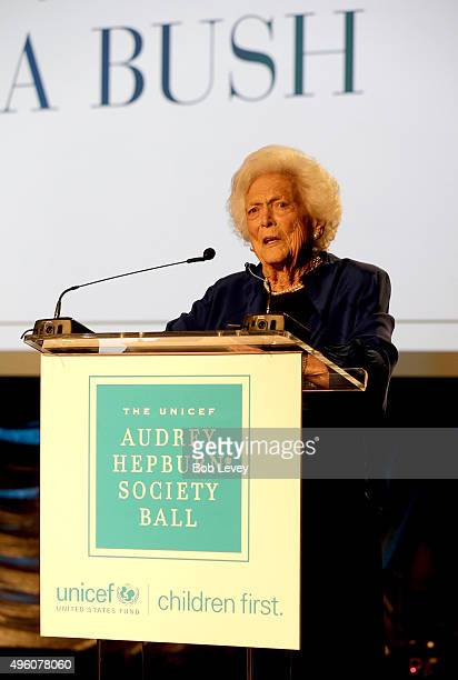 Honoree Barbara Bush accepts theMargaret Alkek Williams Humanitarian Award at the UNICEF Audrey Hepburn Society Ball honoring former first lady...