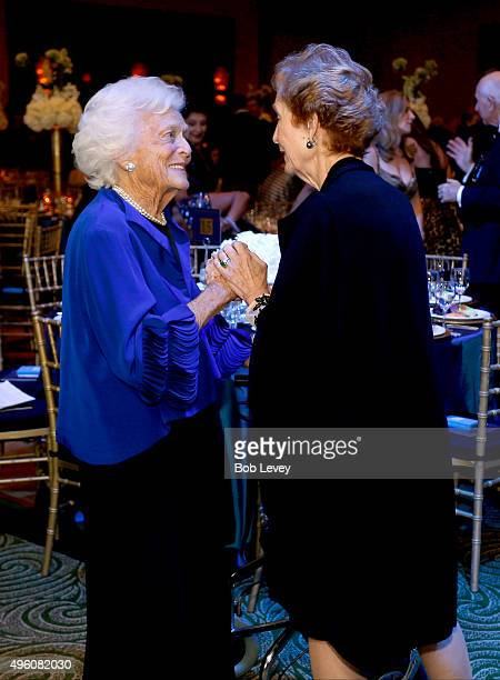 Honoree Barbara Bush and Susan Garrett Baker attend the UNICEF Audrey Hepburn Society Ball honoring former first lady Barbara Bush at the Hilton...