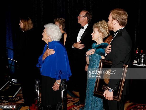 Honoree Barbara Bush Neil Bush presenter Margaret Alkek Williams and Pierce Bush at the UNICEF Audrey Hepburn Society Ball honoring former first lady...