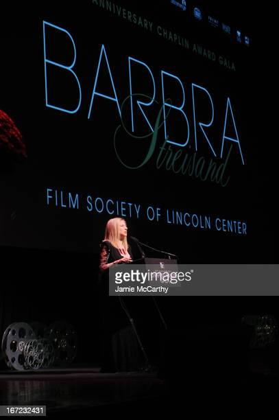 Honoree Barbra Streisand speaks at the 40th Anniversary Chaplin Award Gala at Avery Fisher Hall at Lincoln Center for the Performing Arts on April 22...
