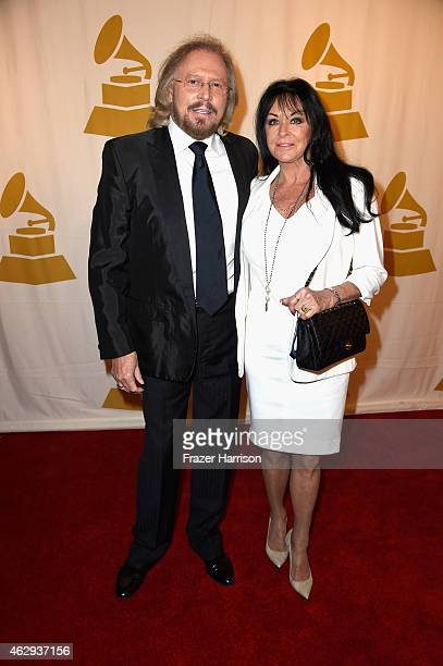 Honoree Barry Gibb and Linda Gray attend The 57th Annual GRAMMY Awards - Special Merit Awards Ceremony on February 7, 2015 in Los Angeles, California.