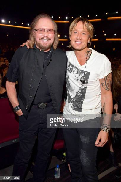 Honoree Barry Gibb and musician Keith Urban attend Stayin' Alive A GRAMMY Salute To The Music Of The Bee Gees on February 14 2017 in Los Angeles...