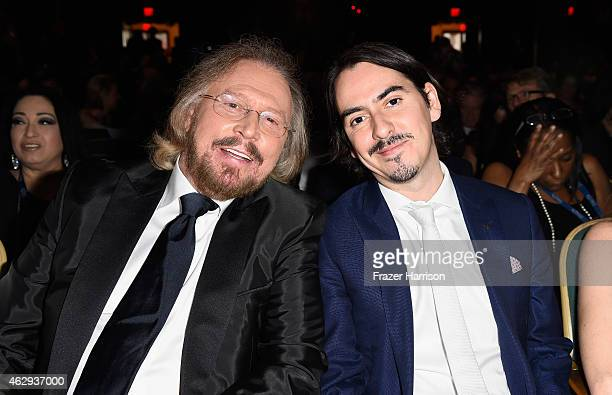 Honoree Barry Gibb and recording artist Dhani Harrison attend The 57th Annual GRAMMY Awards - Special Merit Awards Ceremony on February 7, 2015 in...
