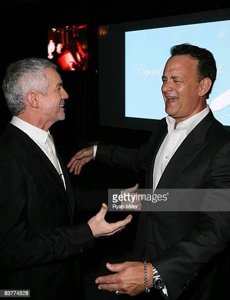 Honoree Baz Luhrmann and presenter Tom Hanks talk during the 2008 Shakespeare Festival LA's Crystal Quill awards held at Twentieth Century Fox Studio...