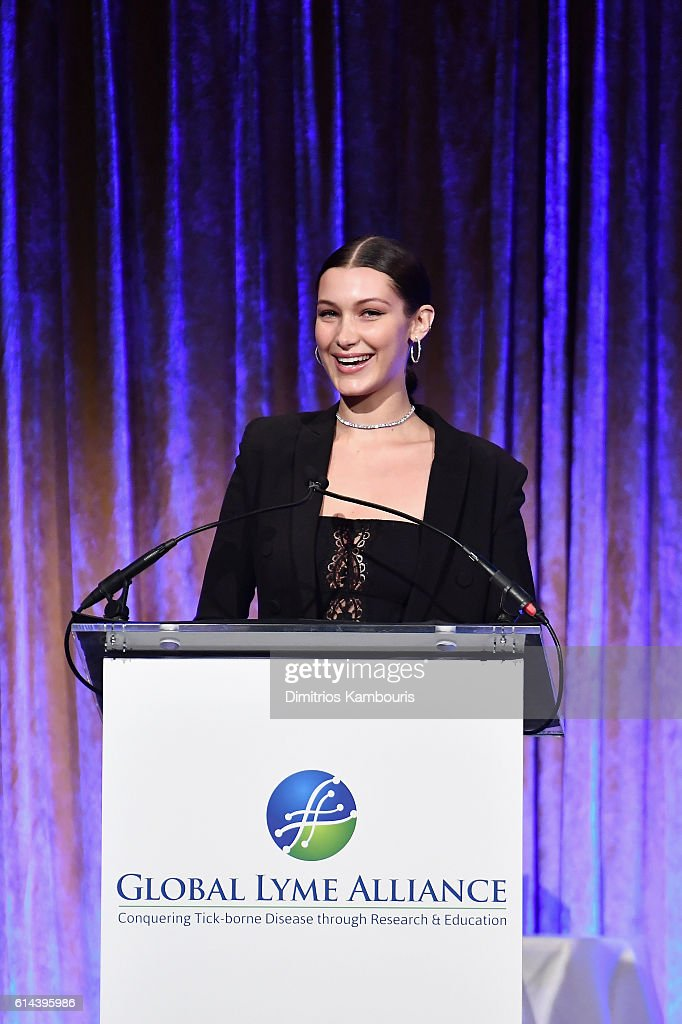 Honoree Bella Hadid speaks onstage during Global Lyme Alliance's second annual 'United For A Lyme-Free World' gala on October 13, 2016 in New York City.
