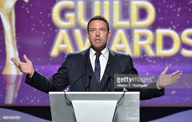 Honoree Ben Affleck accepts the Valentine Davies Award onstage at the 2015 Writers Guild Awards L.A. Ceremony at the Hyatt Regency Century Plaza on...