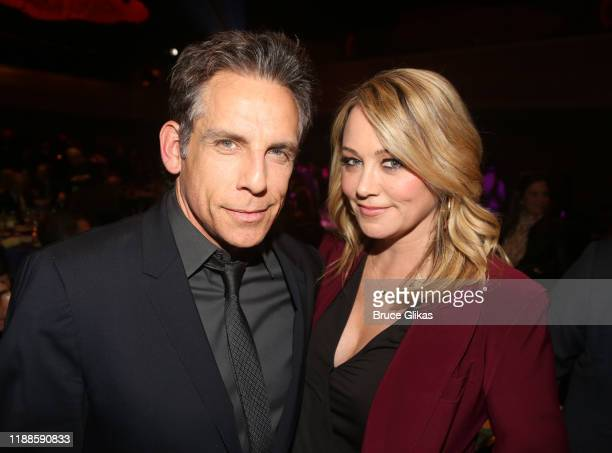 Honoree Ben Stiller and Christine Taylor pose at the 2019 Rosie's Theater Kids Fall Gala at The New York Marriott Marquis on November 18, 2019 in New...