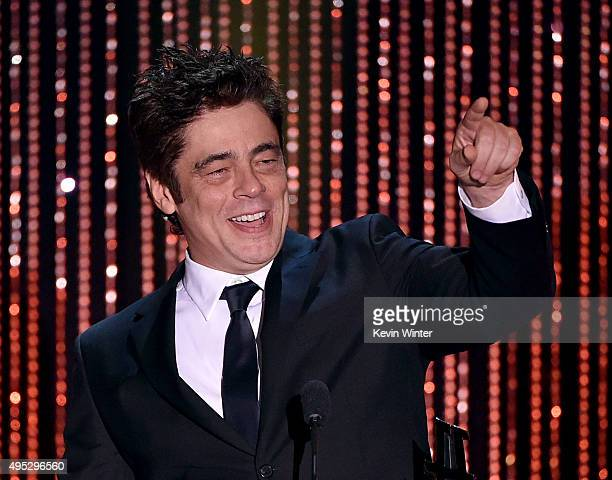 """Honoree Benicio Del Toro accepts the Hollywood Supporting Actor Award for """"Sicario"""" onstage during the 19th Annual Hollywood Film Awards at The..."""