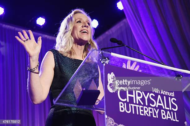 Honoree Betsy Beers speaks onstage during the 14th annual Chrysalis Butterfly Ball sponsored by Audi Kayne Anderson Lauren B Beauty and Z Gallerie on...