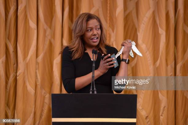 Honoree Bettina Sherick accepts the Distinguished Leadership Award onstage at the Advanced Imaging Society 2018 Lumiere Technology Awards Featuring...