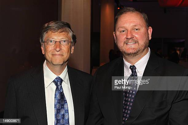 Honoree Bill Gates and amfAR CEO Kevin Robert Frost attend Together To End AIDS An Evening To Benefit amfAR and GBCHealth at John F Kennedy Center...