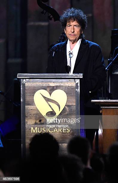 Honoree Bob Dylan appears onstage at the 25th anniversary MusiCares 2015 Person Of The Year Gala honoring Bob Dylan at the Los Angeles Convention...