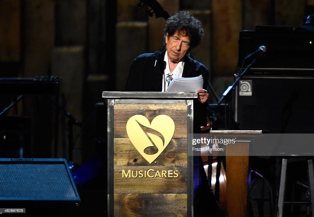 Honoree Bob Dylan speaks onstage at the 25th anniversary MusiCares 2015 Person Of The Year Gala honoring Bob Dylan at the Los Angeles Convention Center on February 6, 2015 in Los Angeles, California. The annual benefit raises critical funds for MusiCares' Emergency Financial Assistance and Addiction Recovery programs.
