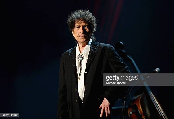 Honoree Bob Dylan speaks onstage at the 25th anniversary MusiCares 2015 Person Of The Year Gala honoring Bob Dylan at the Los Angeles Convention...