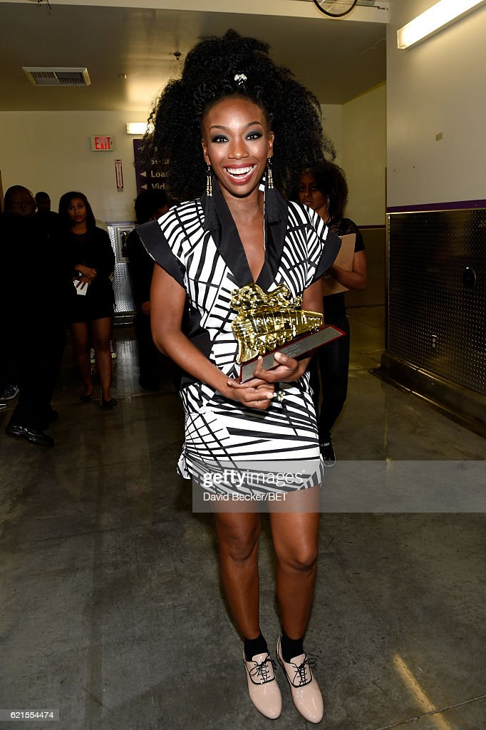 Honoree Brandy with her Lady of Soul Award seen backstage during the 2016 Soul Train Music Awards on November 6, 2016 in Las Vegas, Nevada.