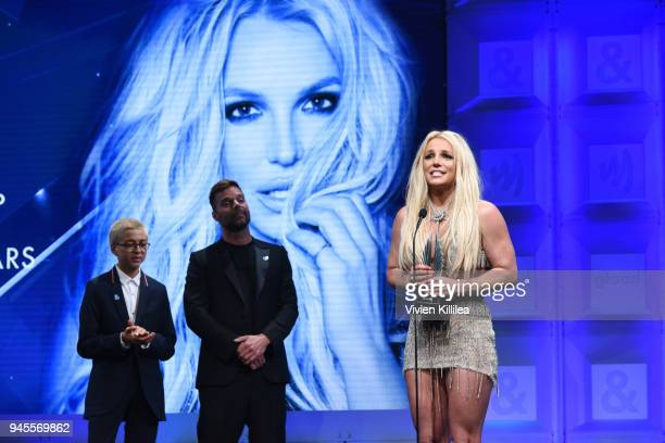 Honoree Britney Spears accepts the Vanguard Award from Ricky Martin and JJ Totah onstage at the 29th Annual GLAAD Media Awards at The Beverly Hilton...