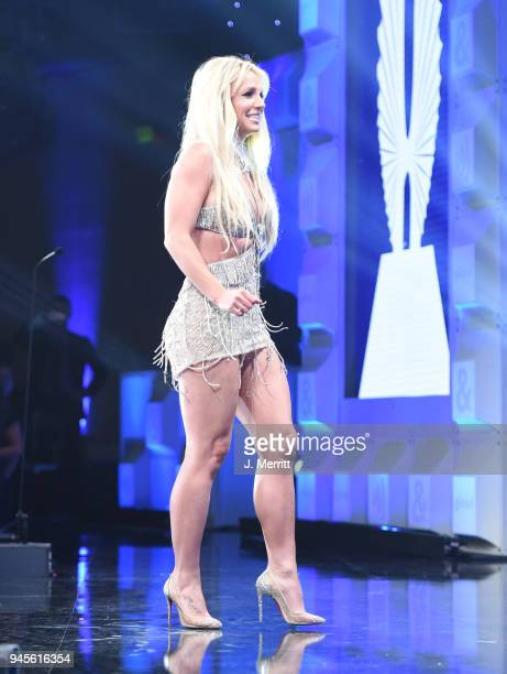 Honoree Britney Spears accepts the Vanguard Award onstage at the 29th Annual GLAAD Media Awards at The Beverly Hilton Hotel on April 12 2018 in...