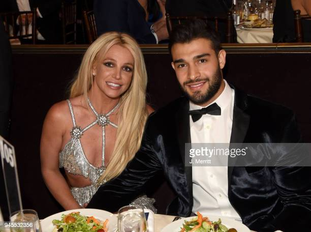 Honoree Britney Spears and Sam Asghari attend the 29th Annual GLAAD Media Awards at The Beverly Hilton Hotel on April 12 2018 in Beverly Hills...