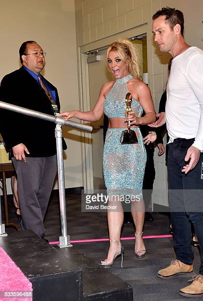 Honoree Britney Spears, recipient of the Millennium Award, enters the press room at the 2016 Billboard Music Awards at T-Mobile Arena on May 22, 2016...
