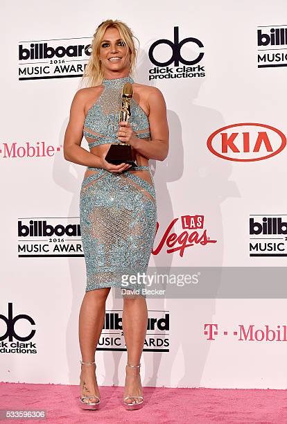Honoree Britney Spears recipient of the Millennium Award poses in the press room during the 2016 Billboard Music Awards at TMobile Arena on May 22...