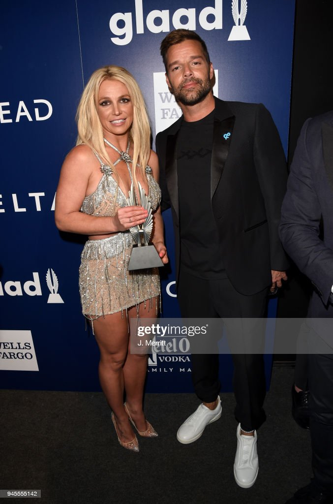 Honoree Britney Spears, Vanguard Award recipient and Ricky Martin pose backstage at the 29th Annual GLAAD Media Awards at The Beverly Hilton Hotel on April 12, 2018 in Beverly Hills, California.