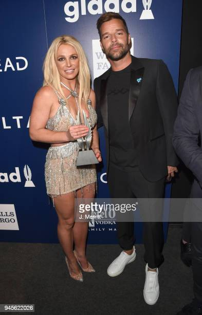 Honoree Britney Spears Vanguard Award recipient and Ricky Martin pose backstage at the 29th Annual GLAAD Media Awards at The Beverly Hilton Hotel on...