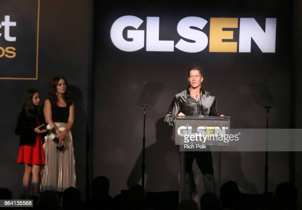 Honoree Bruce Bozzi accepts the Champion Award onstage during the 2017 GLSEN Respect Awards at the Beverly Wilshire Hotel on October 20 2017 in Los...