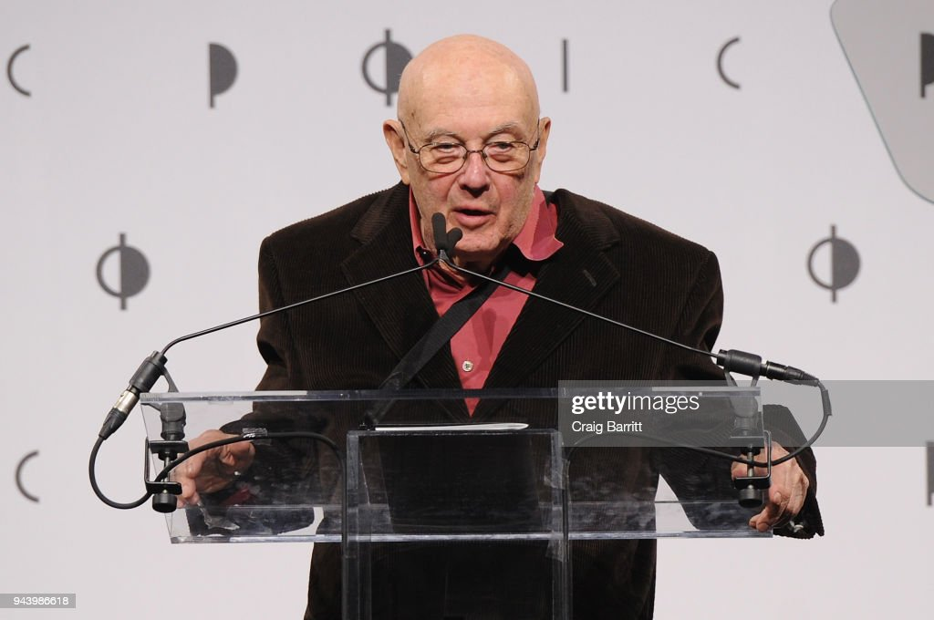 Honoree Bruce Davidson speaks onstage during the International Center Of Photography's 2018 Infinity Awards on April 9, 2018 in New York City.
