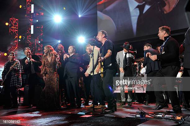 Honoree Bruce Springsteen and guests perform onstage at MusiCares Person Of The Year Honoring Bruce Springsteen on February 8, 2013 in Los Angeles,...