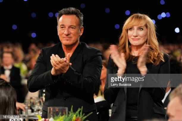 Honoree Bruce Springsteen and singer Patti Scialfa attend MusiCares Person Of The Year Honoring Bruce Springsteen at Los Angeles Convention Center on...