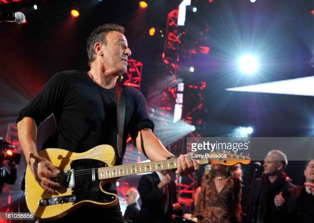 Honoree Bruce Springsteen performs onstage at MusiCares Person Of The Year Honoring Bruce Springsteen on February 8 2013 in Los Angeles California