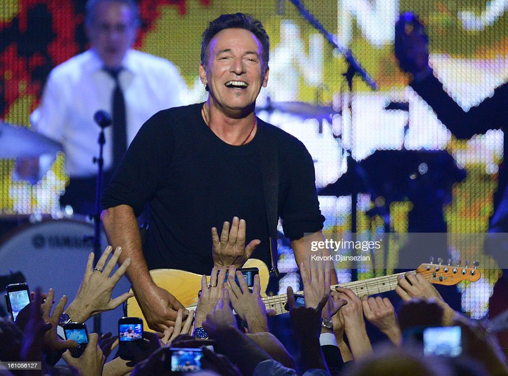 Honoree Bruce Springsteen performs onstage at The 2013 MusiCares Person Of The Year Gala Honoring Bruce Springsteen at Los Angeles Convention Center on February 8, 2013 in Los Angeles, California.