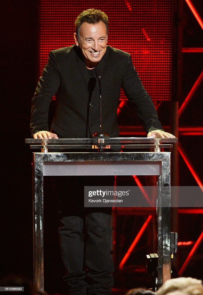 Honoree Bruce Springsteen speaks onstage at The 2013 MusiCares Person Of The Year Gala Honoring Bruce Springsteen at Los Angeles Convention Center on February 8, 2013 in Los Angeles, California.