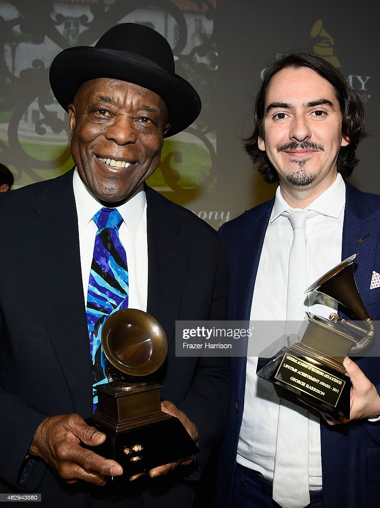 Honoree Buddy Guy (L) and recording artist Dhani Harrison attend The 57th Annual GRAMMY Awards - Special Merit Awards Ceremony on February 7, 2015 in Los Angeles, California.