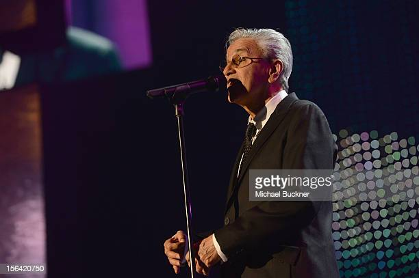 Honoree Caetano Veloso performs onstage during the 2012 Person of the Year honoring Caetano Veloso at the MGM Grand Garden Arena on November 14 2012...