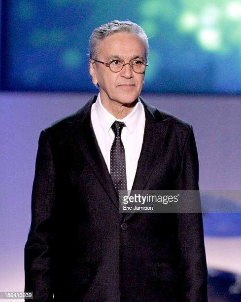 Honoree Caetano Veloso speaks onstage during the 2012 Latin Recording Academy Person Of The Year honoring Caetano Veloso at the MGM Grand Garden...