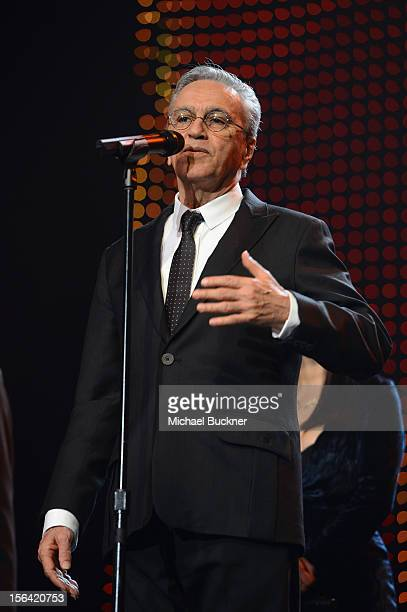 Honoree Caetano Veloso speaks onstage during the 2012 Person of the Year honoring Caetano Veloso at the MGM Grand Garden Arena on November 14 2012 in...