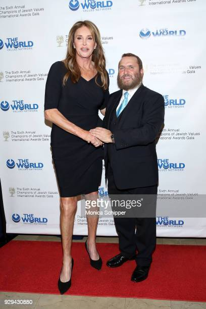 Honoree Caitlyn Jenner and Rabbi Shmuley Boteach attend the 2018 World Values Network Champions of Jewish Values Awards Gala at The Plaza Hotel on...