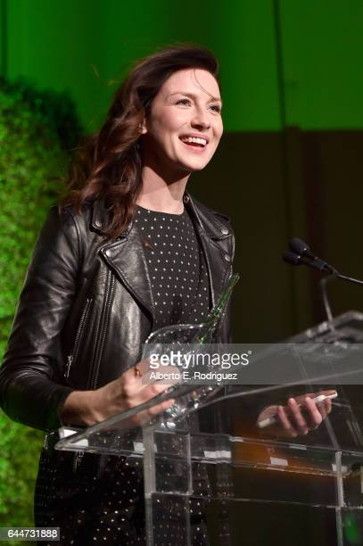 Honoree Caitriona Balfe speaks onstage during the 12th Annual USIreland Aliiance's Oscar Wilde Awards event at Bad Robot on February 23 2017 in Santa...