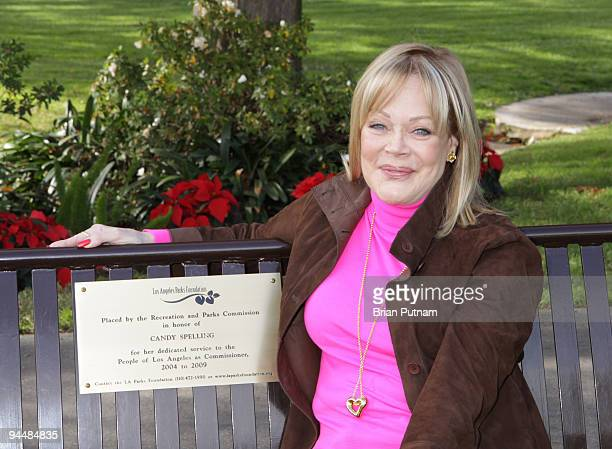 Honoree Candy Spelling attends the bench dedication to Candy Spelling by the Los Angeles Parks Foundation at Holmby Park on December 15 2009 in Los...