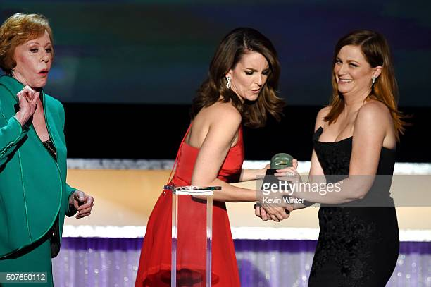 Honoree Carol Burnett accepts the Life Achievement Award from actors Tina Fey and Amy Poehler onstage during The 22nd Annual Screen Actors Guild...