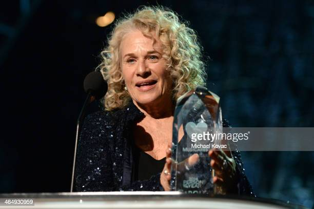 Honoree Carole King accepts the MusiCares Person Of The Year Award onstage at 2014 MusiCares Person Of The Year Honoring Carole King at Los Angeles...