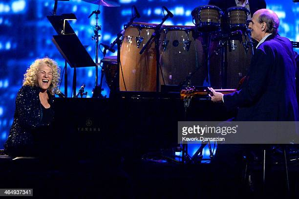 Honoree Carole King and musician James Taylor perform onstage at The 2014 MusiCares Person Of The Year Gala Honoring Carole King at Los Angeles...