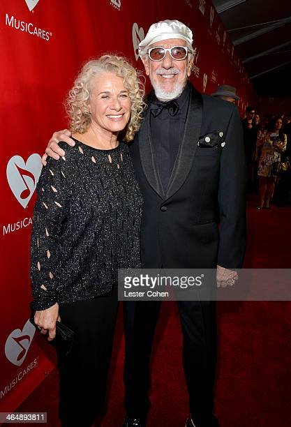 Honoree Carole King and producer Lou Adler attend 2014 MusiCares Person Of The Year Honoring Carole King at Los Angeles Convention Center on January...
